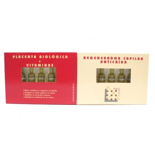 Caja 12 ampollas 10ml anticaida Placenta + vitamina Siscopel